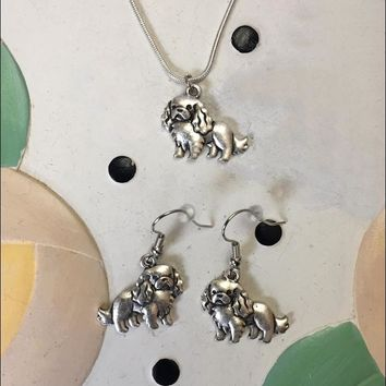 Spaniel Charm Necklace and Earrings Gift Set