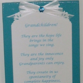 Rustic,  Turquoise Sign, Poems, Grandchildren, Grandparents, Wood Sign, Ornament, Gift Topper, stocking stuffer,