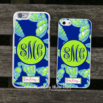 Lilly Pulitzer Green Shell a Little Tipsy Monogram iPhone Case Cover for iPhone 6 6 Plus 5s 5 5c 4s 4 Case