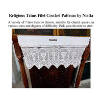 Religious Lace Crochet Trims Filet Patterns Chart Crochet Edgings PDF Instant download Niatta