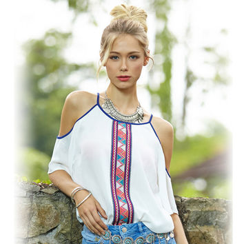 Summer Women's Fashion Print Casual Chiffon Tops Strapless Short Sleeve White Shirt [6281473924]