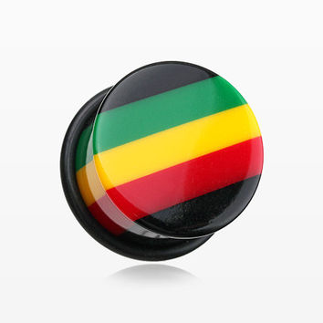 A Pair of Rasta Jamaican Stripe Single Flared Ear Gauge Plug