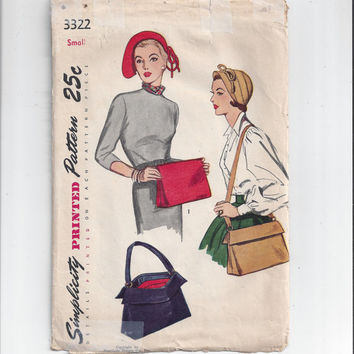 Simplicity 3322 Pattern for Misses' Hat and Bag or Purse, From 1952, Size Small