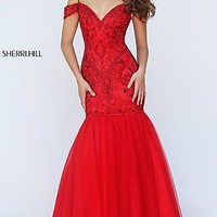 Beaded Cold Shoulder Floor Length Sherri Hill Prom Dress