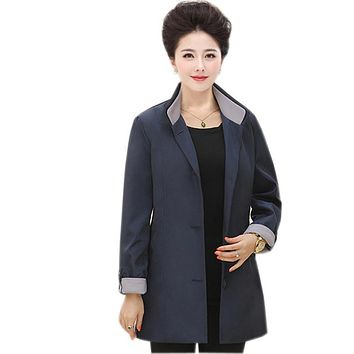 women trench coat female spring autumn loose plus size 6xl blazer mother clothing long sleeve outerwear women trench coat kl0556