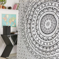 Magical Thinking Floral Bohemian Boho Mandala Black White Elephant Tapestry