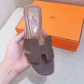 Hermes Trending Women Stylish Slipper Flats Shoes Coffee I-ALS-XZ