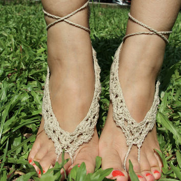 Handmade Crochet Barefoot Sandals ,Nude shoes, Foot jewelry, Wedding, Victorian Lace, Sexy, Yoga, Anklet , Bellydance,Steampunk, Beach Pool,Ethnic,Gift-12