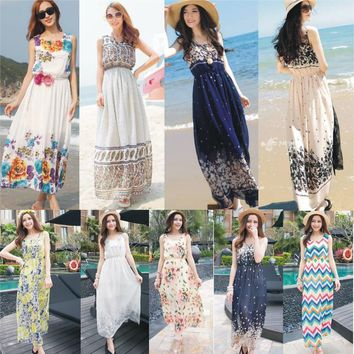 2017 Women Holiday Cute Long Dress Ladies Chiffon Boho Gypsy Hippie Maxi Summer Style Beach Slip Dress Sundress