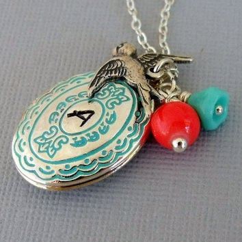 Personalized Silver Locket Necklace by pinkingedgedesigns on Etsy