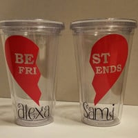 Best Friends Tumbler, Personalized Best Friends Tumbler with Straw 16 oz,Personalized Best Friends Tumbler,Great Gift for Anyone,BFF Tumbler