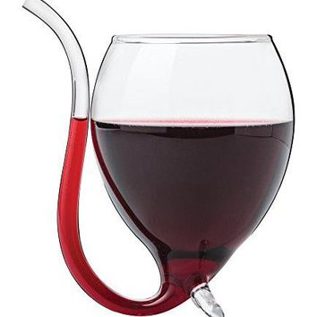 Wine Glass with Straw  Vampire Goblet Clear Enhance Taste Wine Aerator Built In Tube Straw Mommys Sippy Cup