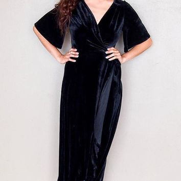 Wrapped In Luxe Black Velvet Hi Low Maxi Dress