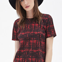 FOREVER 21 Zippered Abstract Plaid Tee Red/Black