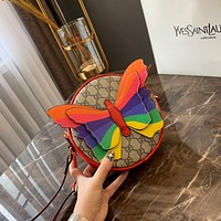 GUCCI Rainbow Butterfly mini GG round shoulder bag