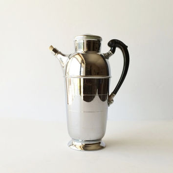 Vintage Cocktail Shaker, Krome Kraft Martini Mixer, Midcentury Cocktail Mixer Barware, Farber Bros Chrome Cocktail Pitcher Drink Server