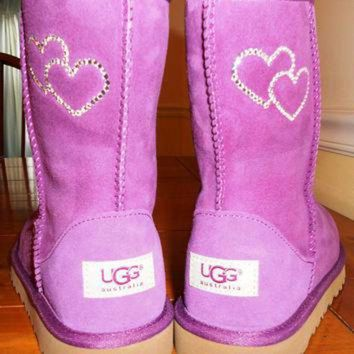 DCCK8X2 Custom Bling Ugg Boots with Rhinestone Hearts Design