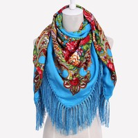 Russian  Fashion Big Size Square Scarf Cotton Long Tassel Print Scarf in Spring Winter Shawl For Women floural
