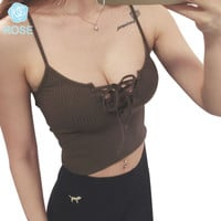 New Women Harajuku Front Cross Bandage Strappy Bustier Casual Crop Top Tank Bralette Brandy Melville Knitted Camis