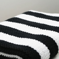 Modern Black and White Striped Cotton Hand Knit Baby Blanket