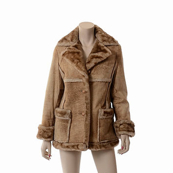 Vintage Womens 70s Schott Shearling Coat 1970s Distressed Sheepskin Brown Leather Sherpa Western Ranch Coat Jacket / Small