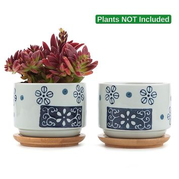 T4U 3 Inch Ceramic Japanese Style Serial No.1 succulent Plant Pot/Cactus Plant Pot Flower Pot/Container/Planter White Package 1 Pack of 2