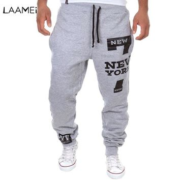 Laamei Men Letter Print Pants Streetwear Male Hip Pop Overalls Sweatpants Pantalon Hombre Men's Jogger Clothes