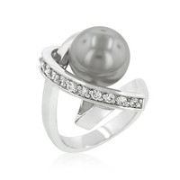Silvertone Knotted Simulated Pearl Ring