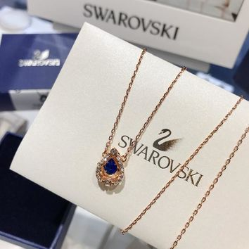 HCXX 19July 428 Swarovski Sparkling Dance Round pulsating crystal color necklace clavicle chain