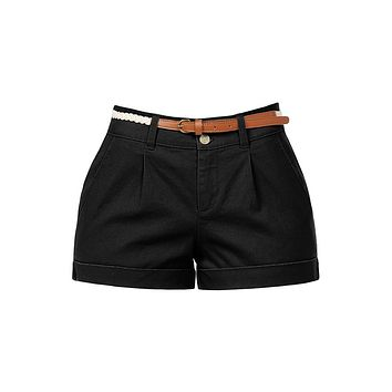 Casual Lightweight Stretchy Low Rise Cuffed Belted Shorts with Pockets