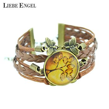 Bangles life tree Braclet Galaxy Cabochon vintage bronze butterfly
