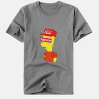 "Fashion "" supreme"" print Creative loose T-shirt top gray"