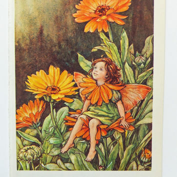 Marigold Fairy,  Orange Fairy Picture, Flower Fairy, nursery decor