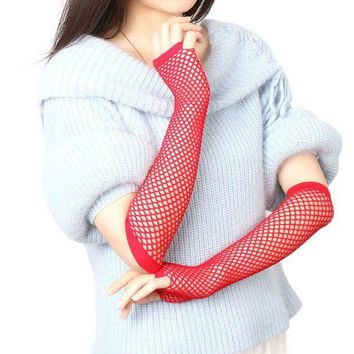 ac DCCKO2Q 2017 Hot Sexy Women Gloves Hollow Out Holes Sexy Punk Goth Lady Disco Dance Costume Summer Party Fingerless Mesh Fishnet Gloves