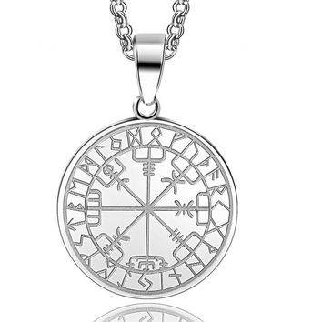 ABAICER- 1pcs 316L Stainless Steel viking odin's symbol of norse runic pendant necklace Viking Runes Vegvisir Compass Pendant