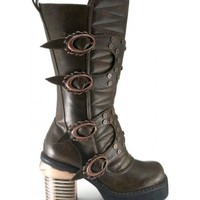 Harajuku Steampunk Captain Womens Brown Boot - Hades Alternative Footwear from ShoeOodles
