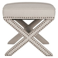 Nail Head Trimmed Ottoman With Cross Legs In Gray Jute Fabric Upholstery