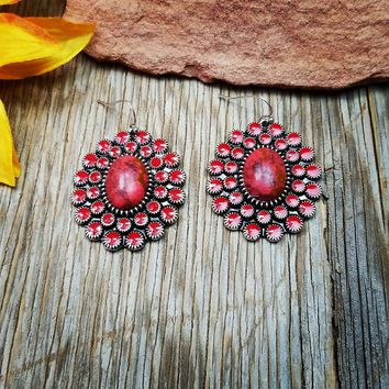 Red Concho Oval Earrings