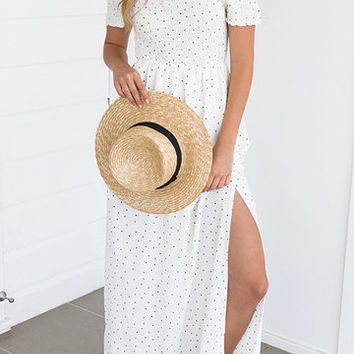 White Off Shoulder Side Split Hem Maxi Dress