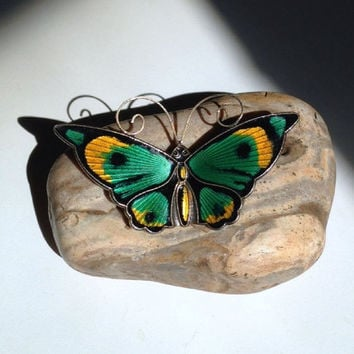 David-Andersen Enamel Sterling Butterfly Brooch Norway Vintage Large Multicolor Guilloche Green Yellow Black