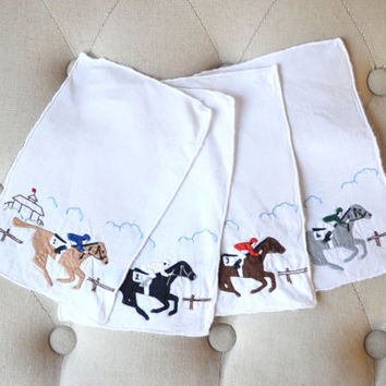 1950s Racehorse Embroidered Cocktail Napkins Mid Century Barware