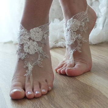 ivory silver frame 3D flowers Barefoot , french lace sandals, wedding anklet, Beach wedding barefoot sandals,  sandals,  free ship