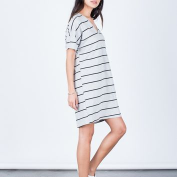 Casual Striped Tee Dress
