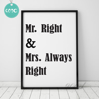 Mr Right Quote Canvas Art Print Painting Poster, Wall Pictures for Home Decoration, Wall Decor YE024