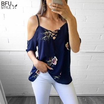 Summer Blusa Feminina Women Sexy Cold Shoulder Floral Print Blouse Mujer De Moda 2018 Elegant Blusas Female Shirts Blue White