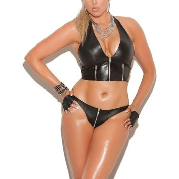 Elegant Moments EM-L4113X Leather Zip Front Halter Top Plus Sizes