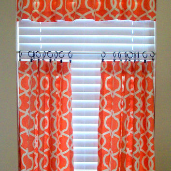 Kitchen Cafe Curtains - 2 Panels/Tiers / Valance sold separately / Tangerine & white design fabric / Kitchen/ Bath/ Laundry Curtains