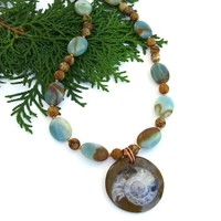Ammonite Fossil Handmade Necklace, Amazonite, Jasper, Unique Artisan Gemstone Jewelry