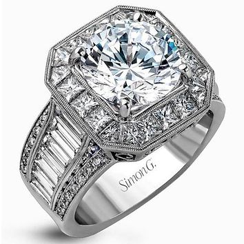 Simon G. Large Center Halo Diamond Engagement Ring