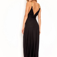 Deep V maxi dress in black